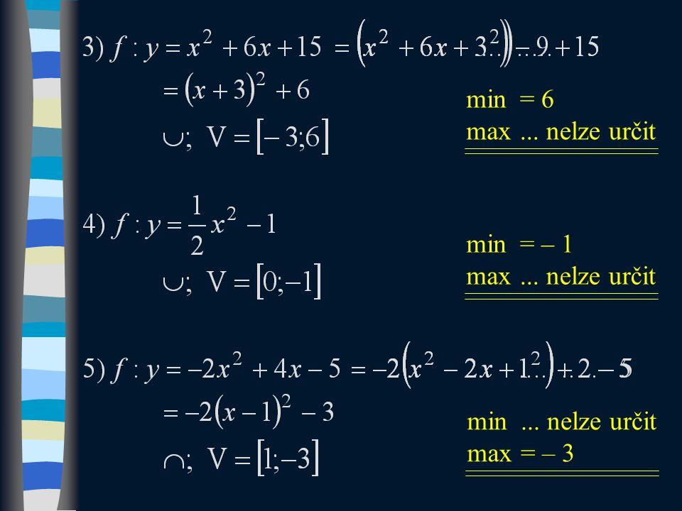 min max = 6... nelze určit min max... nelze určit = – 3 min max = – 1... nelze určit