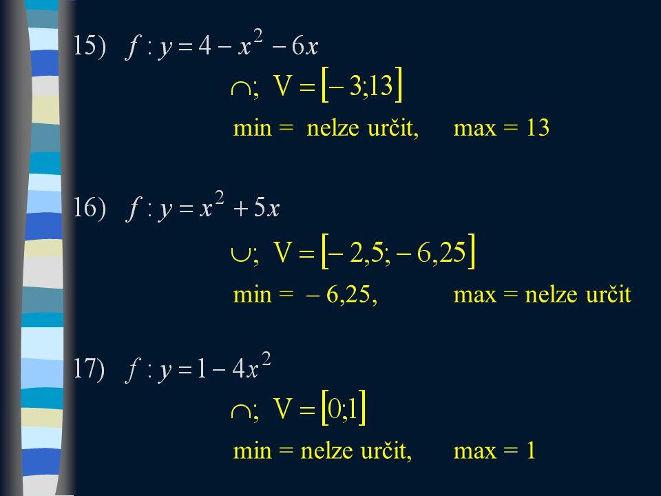 min = nelze určit,max = 13 min = – 6,25,max = nelze určit min = nelze určit, max = 1