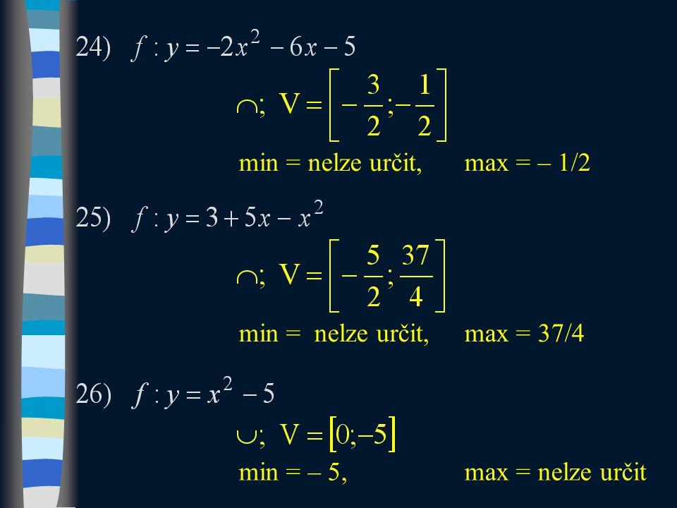 min = nelze určit,max = – 1/2 min = nelze určit,max = 37/4 min = – 5, max = nelze určit