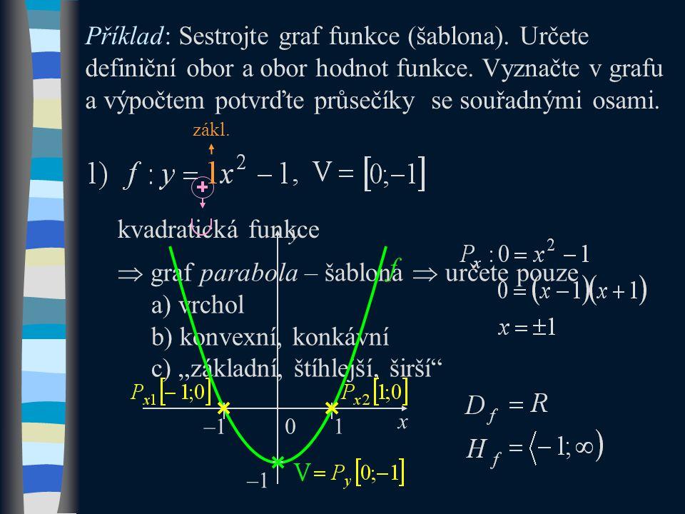 Příklad: Sestrojte graf funkce (šablona). Určete definiční obor a obor hodnot funkce.