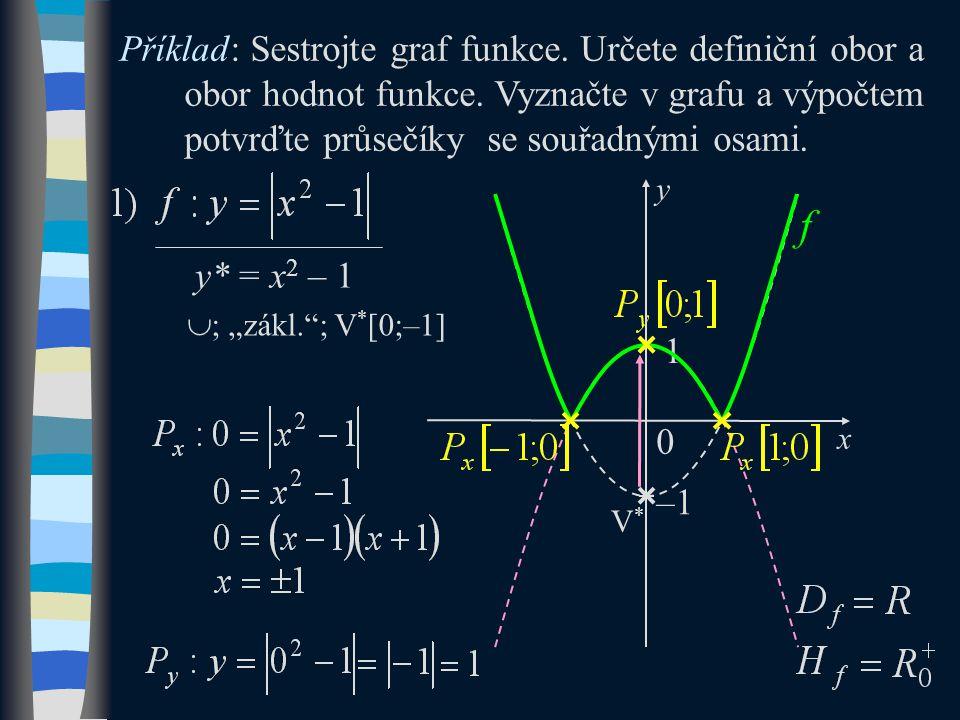 y* = x 2 – 1 Příklad: Sestrojte graf funkce. Určete definiční obor a obor hodnot funkce.