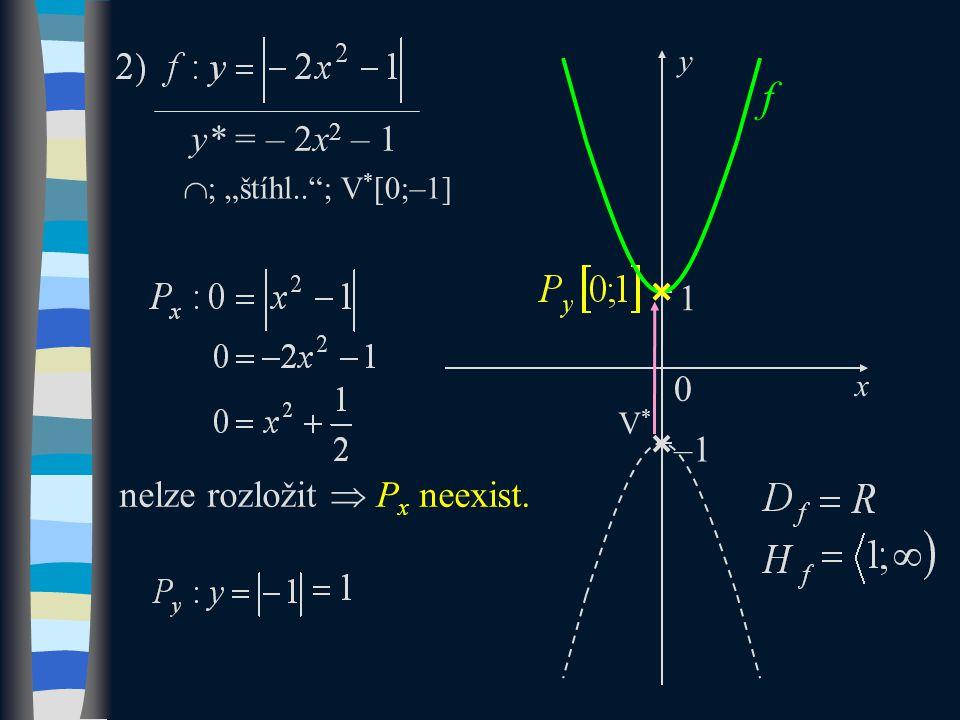 "y* = – 2x 2 – 1  ; ""štíhl.. ; V * [0;–1] –1 0 x y V*V* f 1 nelze rozložit  P x neexist."