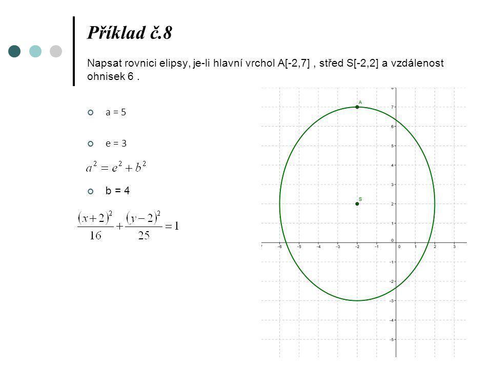 Příklad č.8 Napsat rovnici elipsy, je-li hlavní vrchol A[-2,7], střed S[-2,2] a vzdálenost ohnisek 6. a = 5 e = 3 b = 4