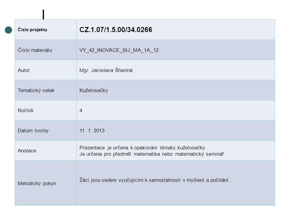 Číslo projektu CZ.1.07/1.5.00/34.0266 Číslo materiáluVY_42_INOVACE_StJ_MA_1A_12 AutorMgr. Jaroslava Šťastná Tematický celekKuželosečky Ročník4. Datum