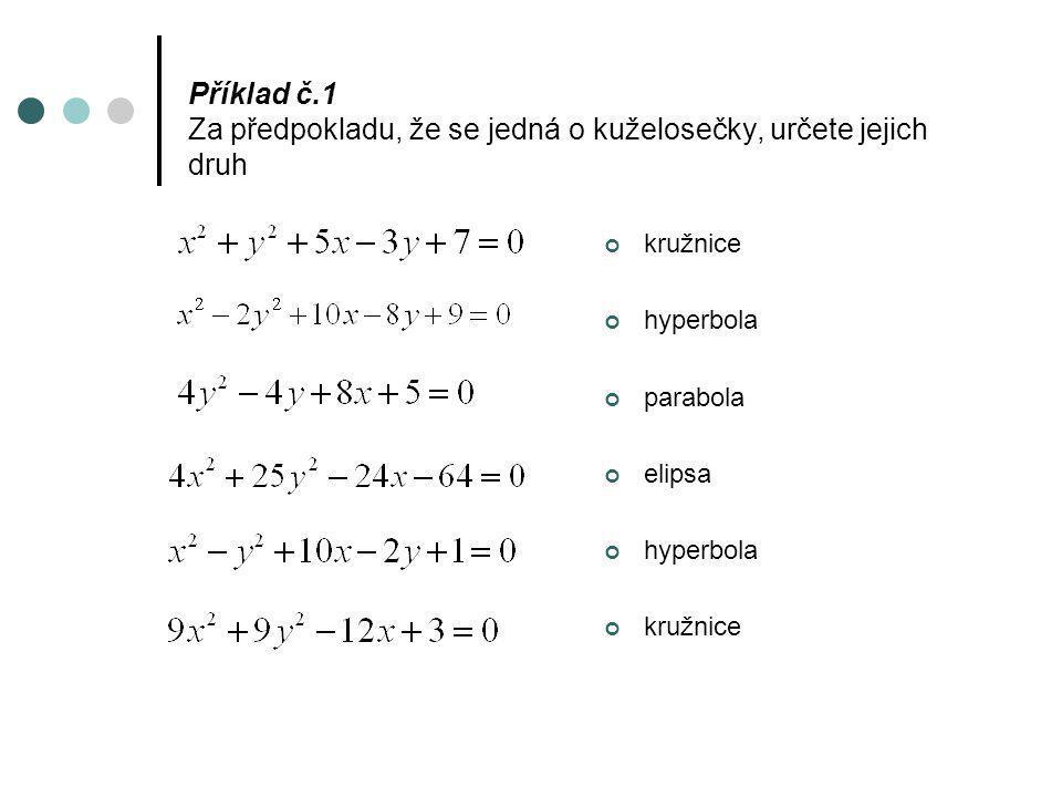 Příklad č.1 Za předpokladu, že se jedná o kuželosečky, určete jejich druh kružnice hyperbola parabola elipsa hyperbola kružnice