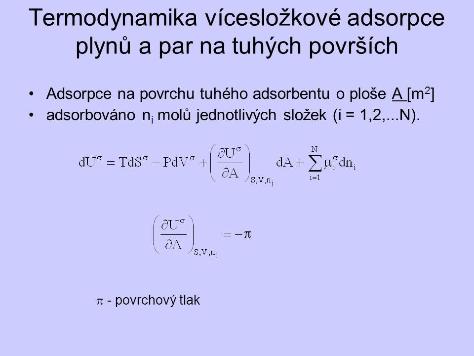 Termodynamika vícesložkové adsorpce plynů a par na tuhých površích Adsorpce na povrchu tuhého adsorbentu o ploše A [m 2 ] adsorbováno n i molů jednotlivých složek (i = 1,2,...N).