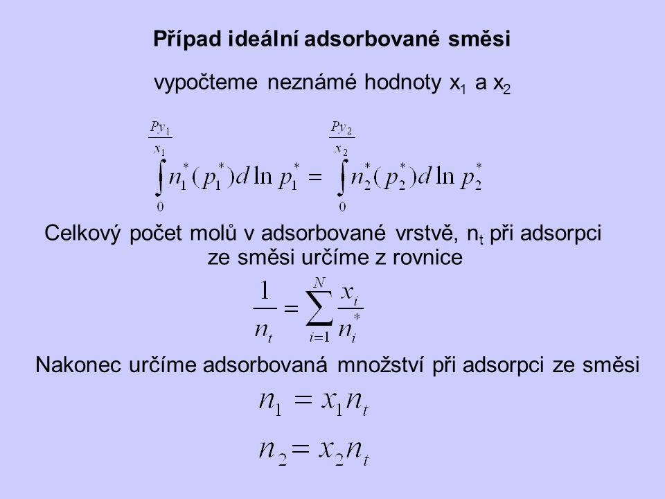 Případ ideální adsorbované směsi vypočteme neznámé hodnoty x 1 a x 2 Celkový počet molů v adsorbované vrstvě, n t při adsorpci ze směsi určíme z rovnice Nakonec určíme adsorbovaná množství při adsorpci ze směsi
