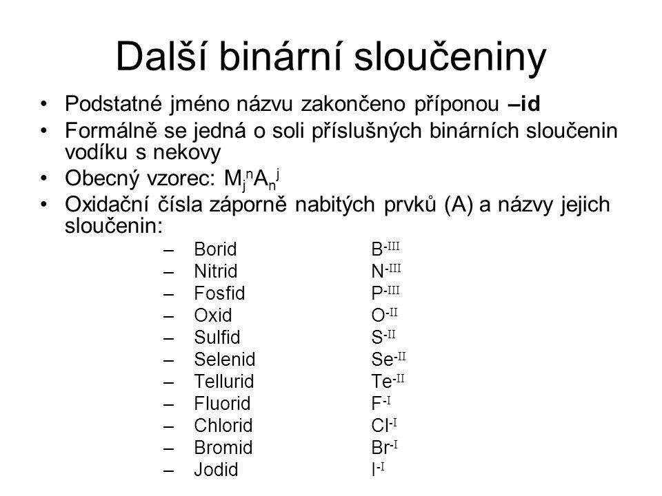 Další binární sloučeniny Podstatné jméno názvu zakončeno příponou –id Formálně se jedná o soli příslušných binárních sloučenin vodíku s nekovy Obecný vzorec: M j n A n j Oxidační čísla záporně nabitých prvků (A) a názvy jejich sloučenin: –BoridB -III –NitridN -III –FosfidP -III –OxidO -II –SulfidS -II –SelenidSe -II –TelluridTe -II –FluoridF -I –ChloridCl -I –BromidBr -I –JodidI -I