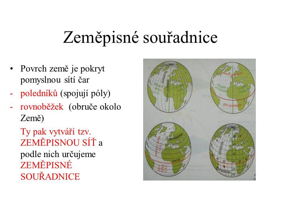 Zeměpisné souřadnice Povrch země je pokryt pomyslnou sítí čar -poledníků (spojují póly) -rovnoběžek (obruče okolo Země) Ty pak vytváří tzv.