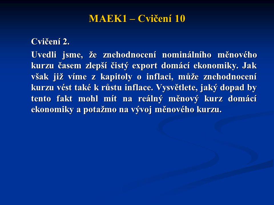 MAEK1 – Cvičení 10 Cvičení 2. Uvedli jsme, že znehodnocení nominálního měnového kurzu časem zlepší čistý export domácí ekonomiky. Jak však již víme z