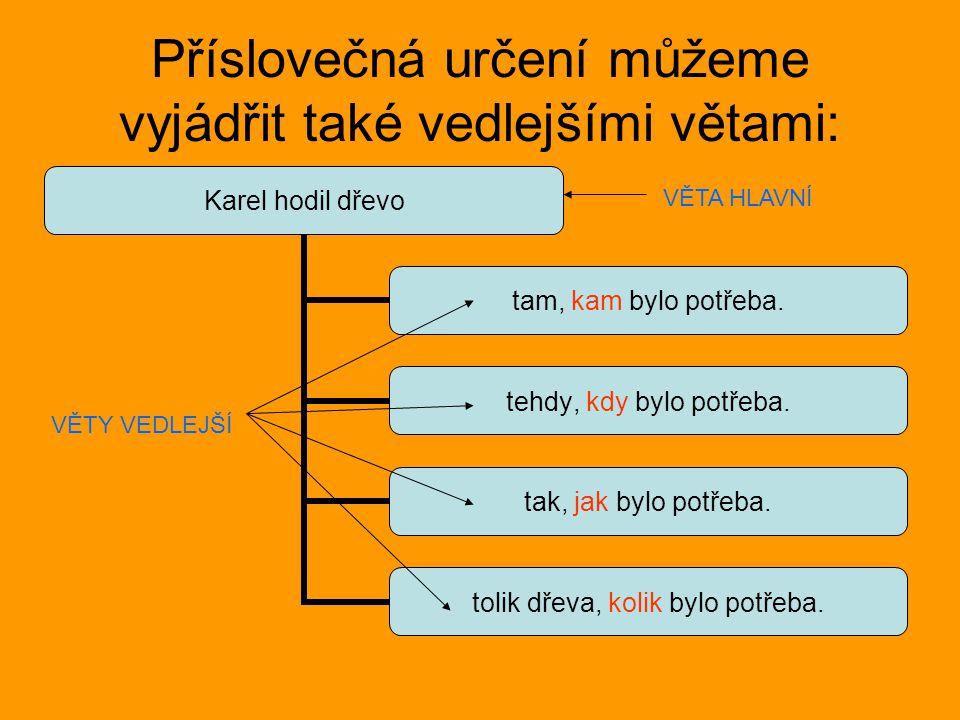 Tvoř vedlejší věty příslovečné podle schématu: věta hlavní tam, kam tehdy, kdy tak, jak tolik, kolik