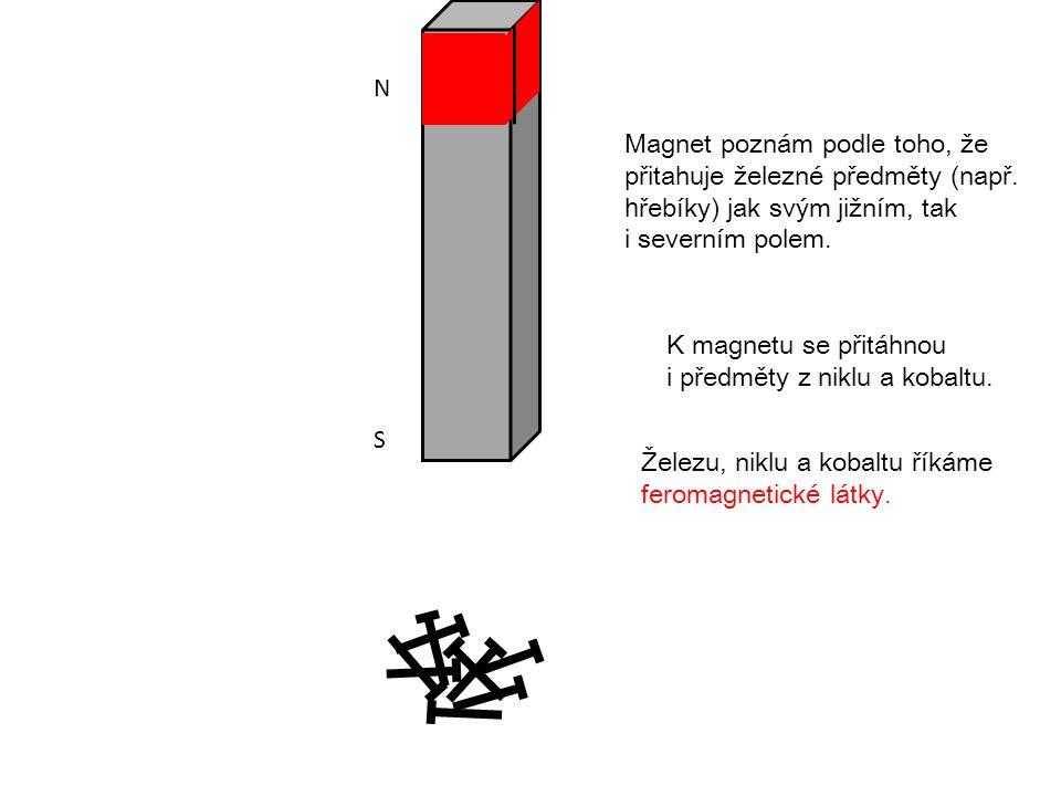 N S Magnet poznám podle toho, že přitahuje železné předměty ( např. h řebíky ) jak svým jižním, tak i severním polem. K magnetu se přitáhnou i předmět