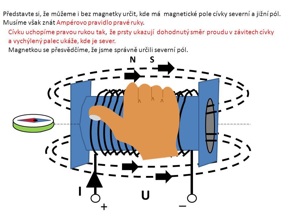 + NS _ I U Představte si, že můžeme i bez magnetky určit, kde má magnetické pole cívky severní a jižní pól. Musíme však znát Ampérovo pravidlo pravé r