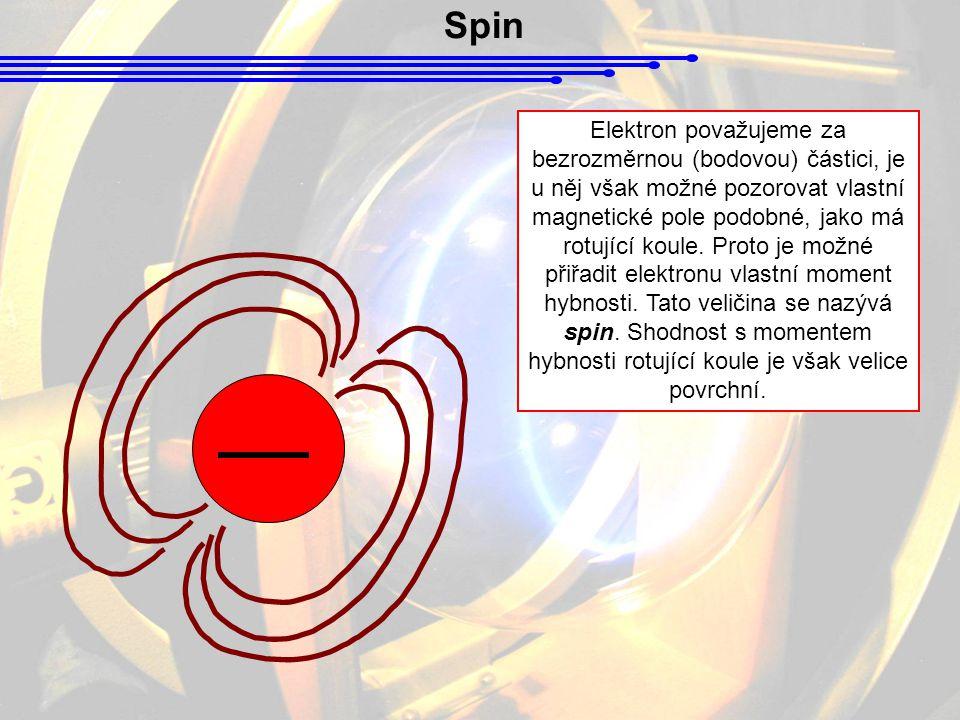 Spin Elektron považujeme za bezrozměrnou (bodovou) částici, je u něj však možné pozorovat vlastní magnetické pole podobné, jako má rotující koule. Pro