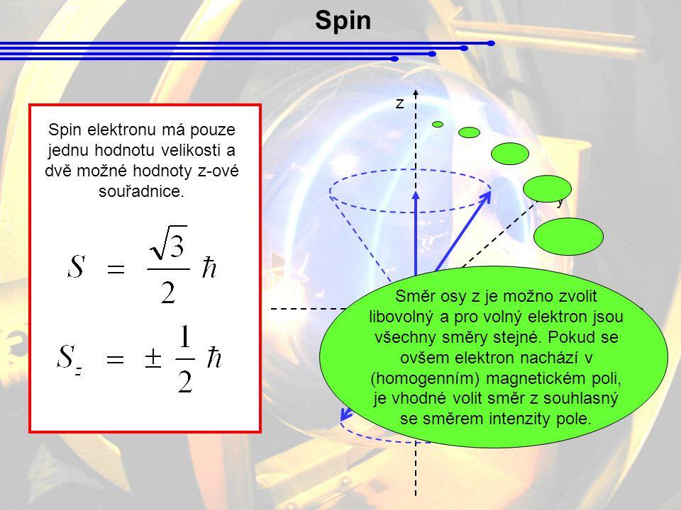 Spin Magnetický moment elektronu Vlastní moment hybnosti elektronu (spin) může vůči orbitálnímu magnetickému poli nabýt pouze dvou orientací.