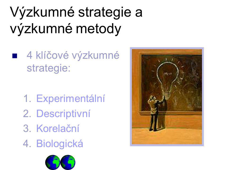 4 klíčové výzkumné strategie: 1.Experimentální 2.Descriptivní 3.Korelační 4.Biologická Výzkumné strategie a výzkumné metody