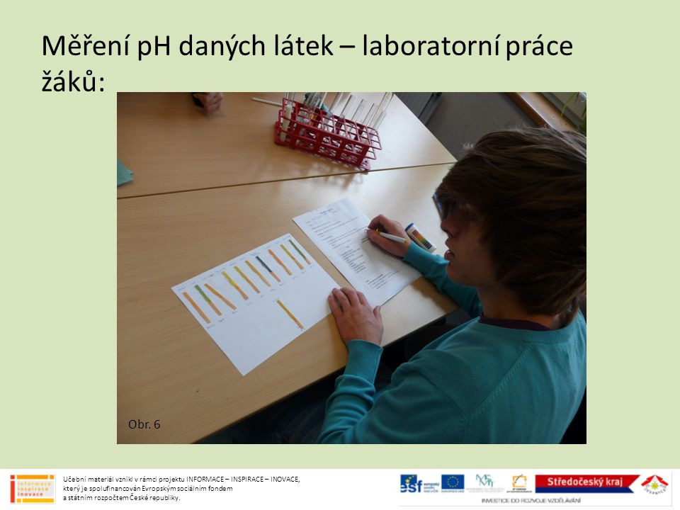 Měření pH daných látek – laboratorní práce žáků: Učební materiál vznikl v rámci projektu INFORMACE – INSPIRACE – INOVACE, který je spolufinancován Evr