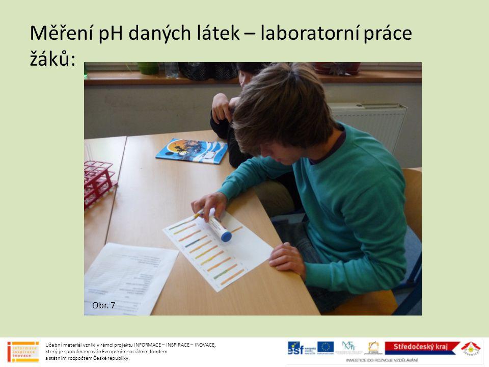 Obr. 7 Měření pH daných látek – laboratorní práce žáků: Učební materiál vznikl v rámci projektu INFORMACE – INSPIRACE – INOVACE, který je spolufinanco