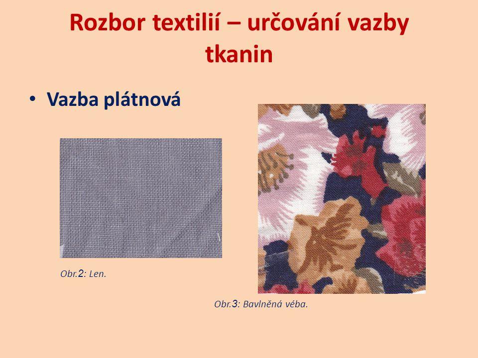 Rozbor textilií– určování vazby tkanin Vazba keprová  šikmé řádkování  pravý kepr (/ Z)  levý kepr (\ S)  osnovní kepr  útkový kepr  základní kepr je třívazný  měkkost a pružnost  názvy tkanin (barchet, gabardén, kašmír, tvíd) Obr.