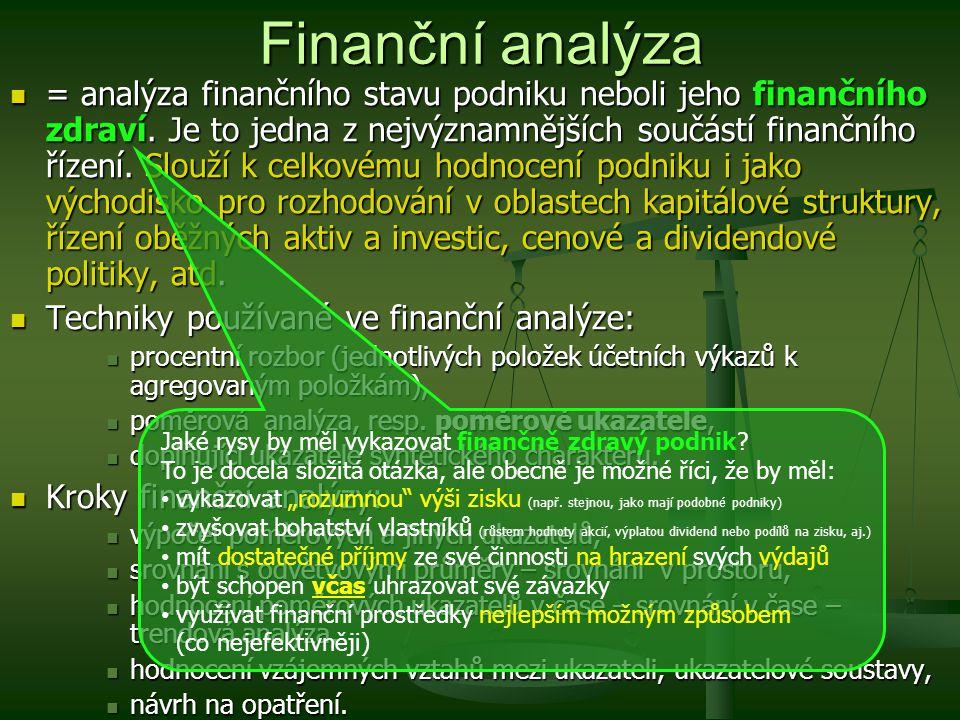 = analýza finančního stavu podniku neboli jeho finančního zdraví. Je to jedna z nejvýznamnějších součástí finančního řízení. Slouží k celkovému hodnoc