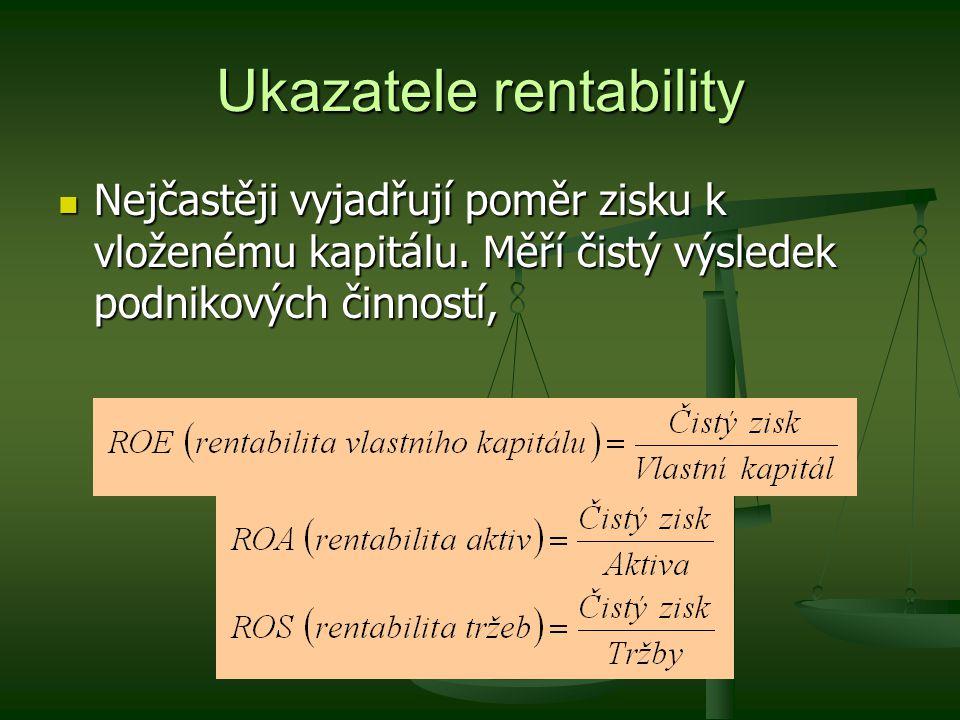 Ukazatele rentability Nejčastěji vyjadřují poměr zisku k vloženému kapitálu. Měří čistý výsledek podnikových činností, Nejčastěji vyjadřují poměr zisk