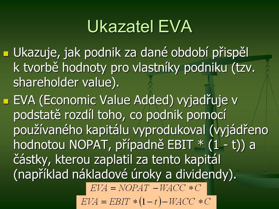 Ukazatel EVA Ukazuje, jak podnik za dané období přispěl k tvorbě hodnoty pro vlastníky podniku (tzv. shareholder value). Ukazuje, jak podnik za dané o
