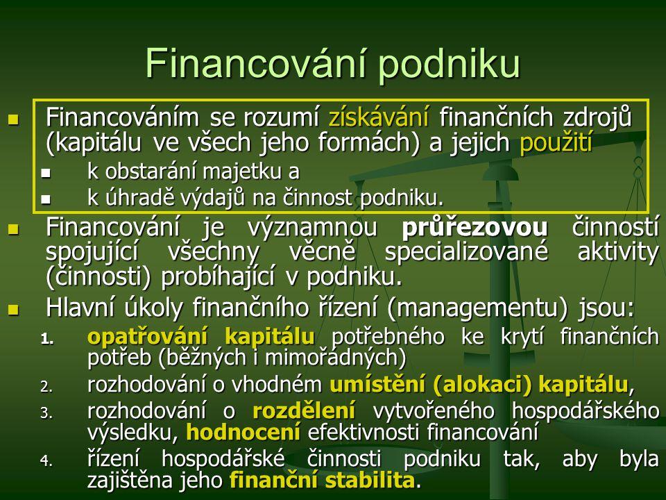 Financování podniku Finanční řízení je ovlivňováno: Finanční řízení je ovlivňováno: faktorem rizika – výběr jedné z několika možných variant s určitou pravděpodobností úspěchu, přičemž riziko vzniká z vnějších a vnitřních příčin, (riziko je obvykle zohledněno i v samotných nákladech kapitálu) faktorem rizika – výběr jedné z několika možných variant s určitou pravděpodobností úspěchu, přičemž riziko vzniká z vnějších a vnitřních příčin, (riziko je obvykle zohledněno i v samotných nákladech kapitálu) faktorem času – současná rozhodnutí ovlivňují budoucí toky peněz.