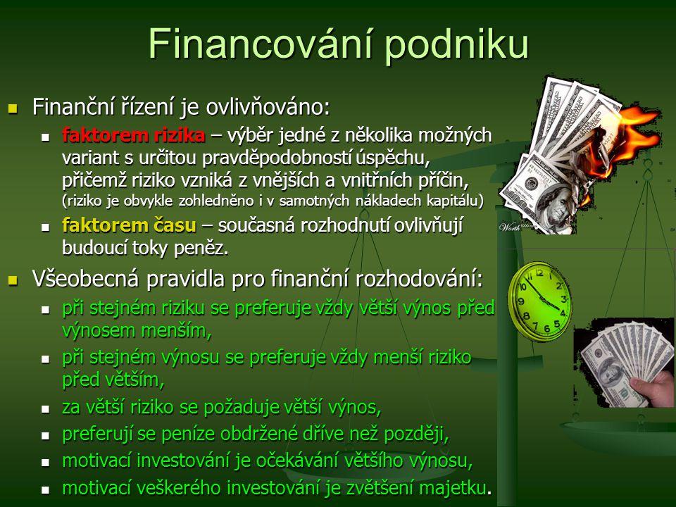 Financování podniku Finanční řízení je ovlivňováno: Finanční řízení je ovlivňováno: faktorem rizika – výběr jedné z několika možných variant s určitou