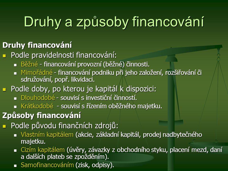 Druhy a způsoby financování Druhy financování Podle pravidelnosti financování: Podle pravidelnosti financování: Běžné - financování provozní (běžné) č