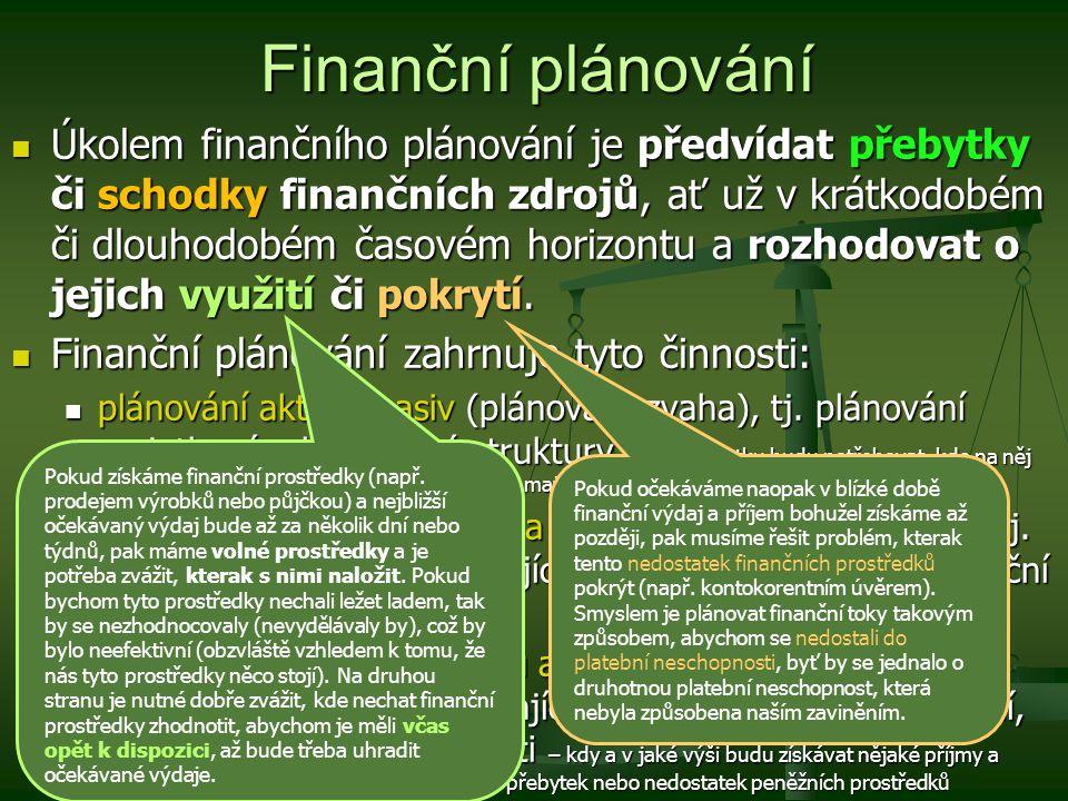 Finanční plánování Úkolem finančního plánování je předvídat přebytky či schodky finančních zdrojů, ať už v krátkodobém či dlouhodobém časovém horizont