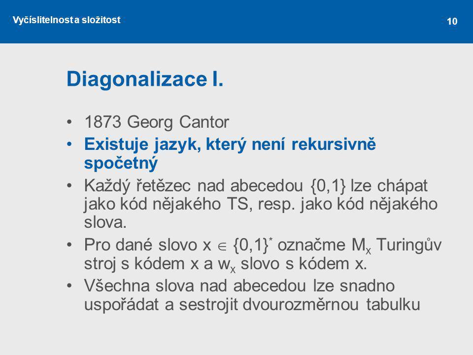 Vyčíslitelnost a složitost 10 Diagonalizace I. 1873 Georg Cantor Existuje jazyk, který není rekursivně spočetný Každý řetězec nad abecedou {0,1} lze c
