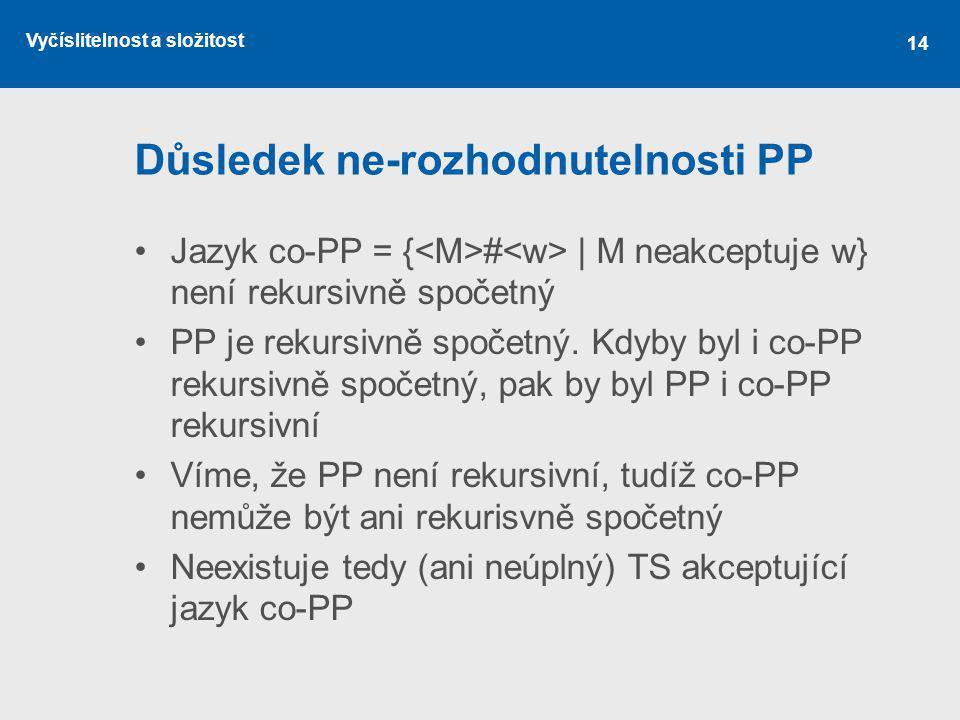 Vyčíslitelnost a složitost 14 Důsledek ne-rozhodnutelnosti PP Jazyk co-PP = { # | M neakceptuje w} není rekursivně spočetný PP je rekursivně spočetný.
