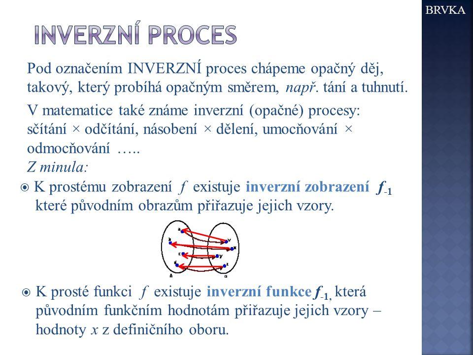 Pod označením INVERZNÍ proces chápeme opačný děj, takový, který probíhá opačným směrem, např.