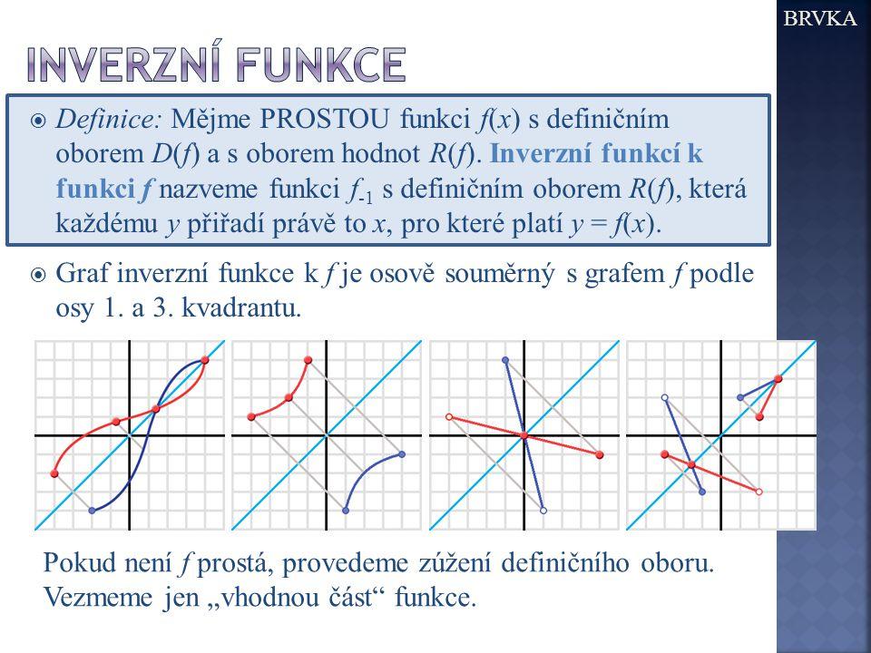  Definice: Mějme PROSTOU funkci f(x) s definičním oborem D(f) a s oborem hodnot R(f).
