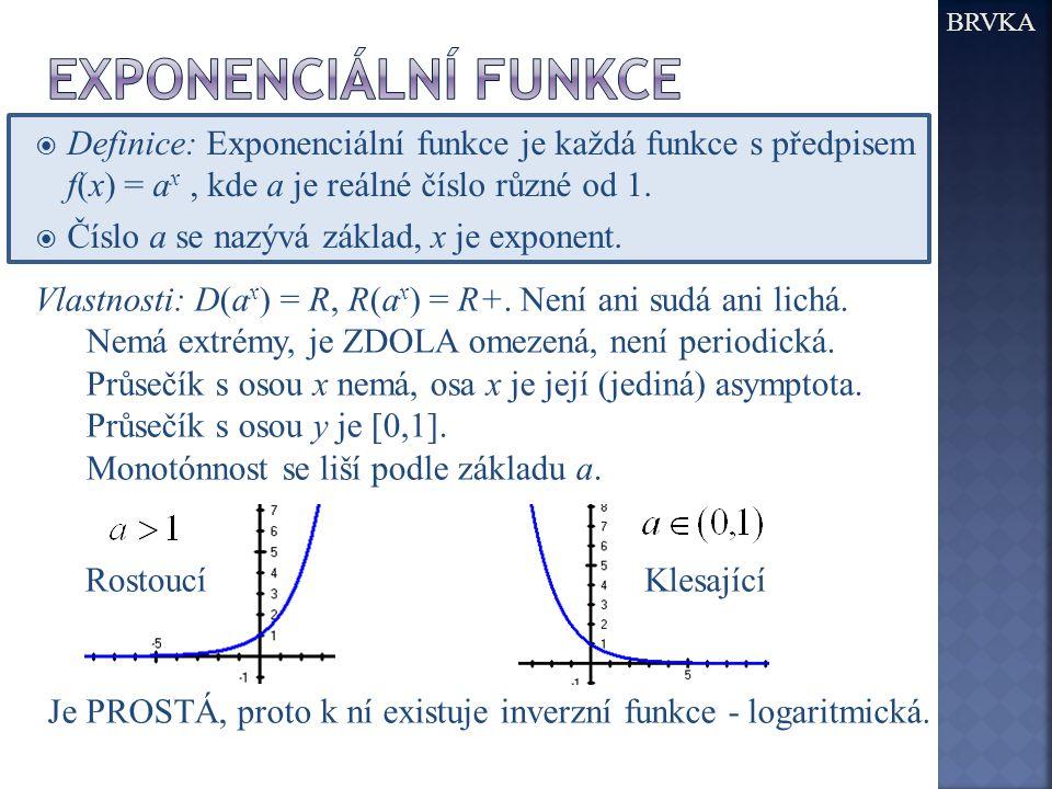  Definice: Exponenciální funkce je každá funkce s předpisem f(x) = a x, kde a je reálné číslo různé od 1.