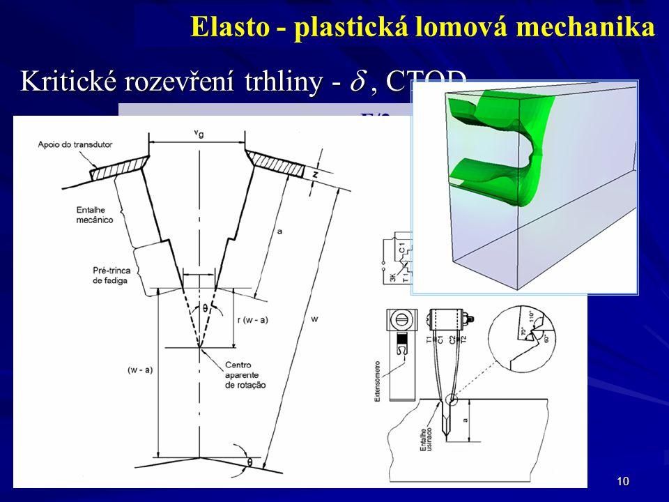 10 Kritické rozevření trhliny - , CTOD Elasto - plastická lomová mechanika W F b S a trhlina F/2