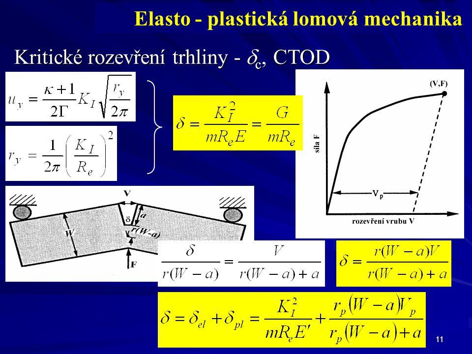11 Elasto - plastická lomová mechanika Kritické rozevření trhliny -  c, CTOD m ~ 1 pro RN m ~ 2 pro RD