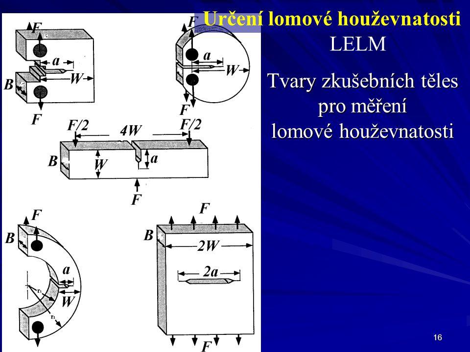 16 Tvary zkušebních těles pro měření lomové houževnatosti Určení lomové houževnatosti LELM