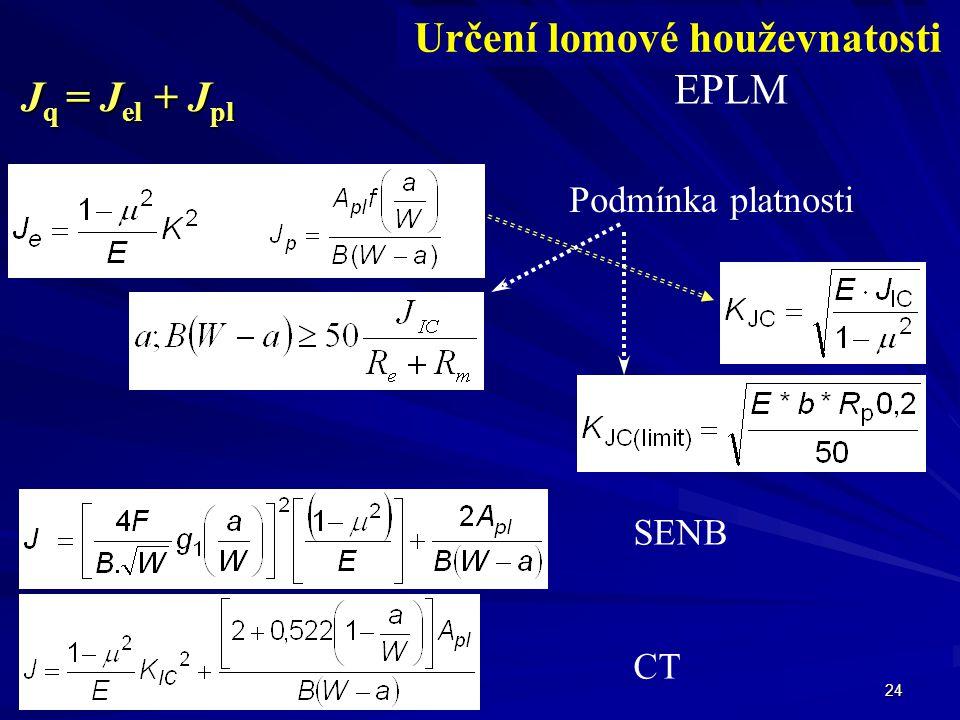 24 Určení lomové houževnatosti EPLM J q = J el + J pl Podmínka platnosti SENB CT