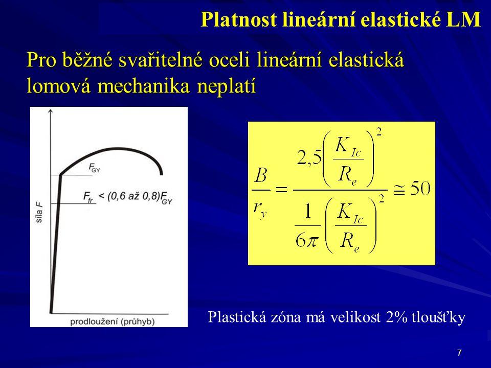 38 Určení J R (J- Δ a) křivky Metoda několika těles Metoda jednoho tělesa - přímá (změna poddajnosti) - nepřímá (měření délky trhliny)