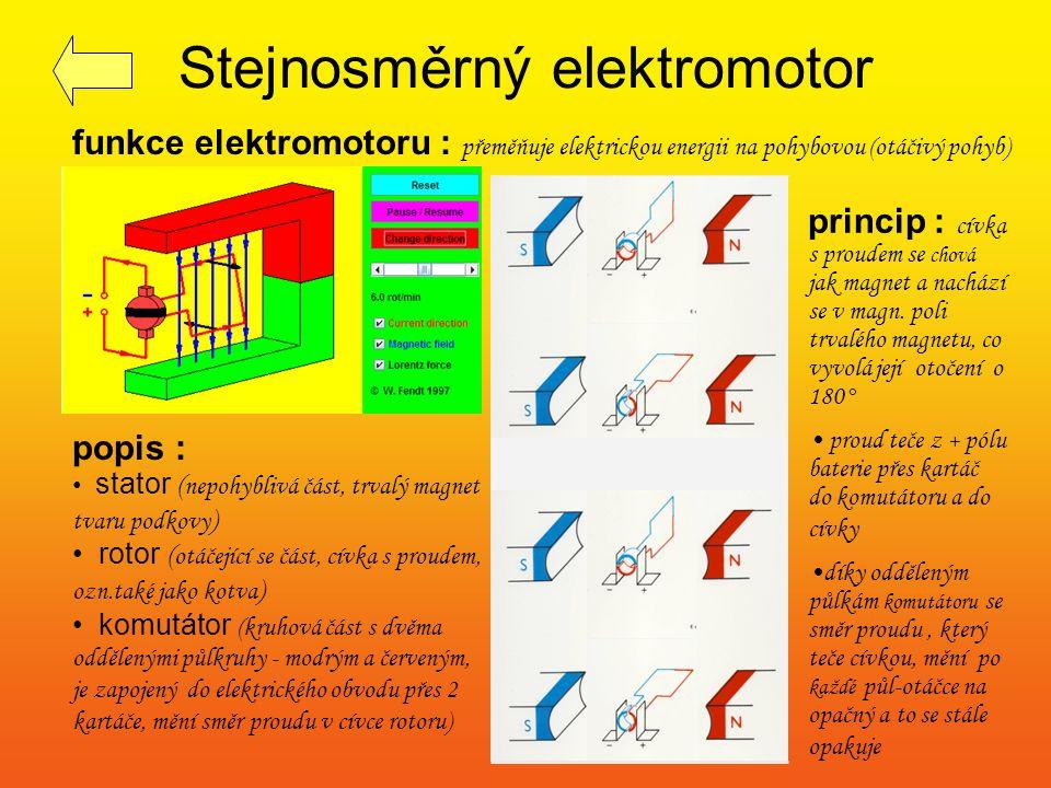 Stejnosměrný elektromotor princip : cívka s proudem se chová jak magnet a nachází se v magn. poli trvalého magnetu, co vyvolá její otočení o 180° prou