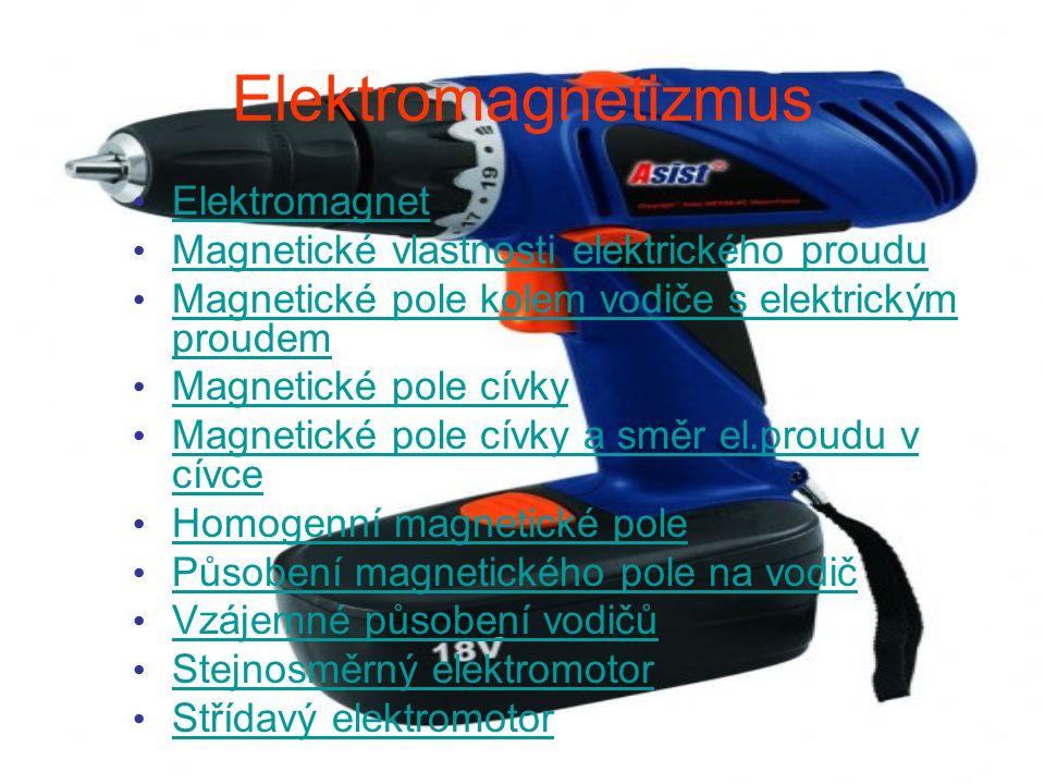 Elektromagnetizmus Elektromagnet Magnetické vlastnosti elektrického proudu Magnetické pole kolem vodiče s elektrickým proudem Magnetické pole kolem vo