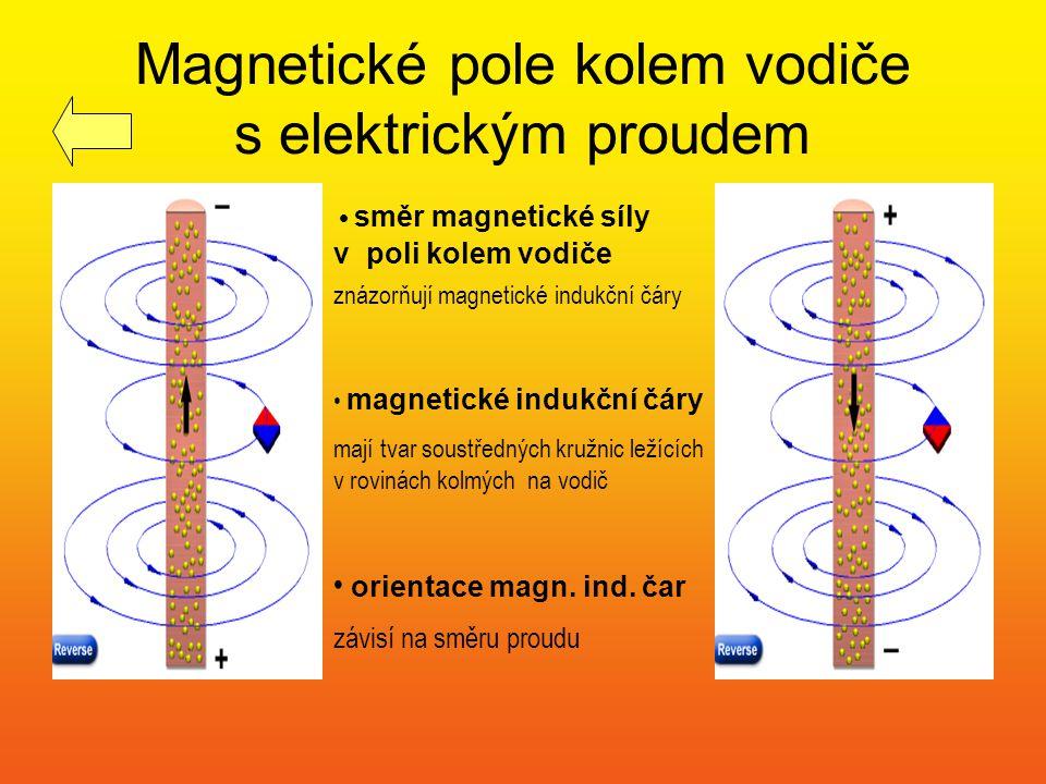 Magnetické pole kolem vodiče s elektrickým proudem palec ukazující směr proudu ve vodiči Ampérovo pravidlo pravé ruky nám pomůže určit orientaci pole: uchopíme-li vodič do pravé ruky tak, aby palec ukazoval směr proudu ve vodiči, pokrčené prsty ukazují pak směr indukčních čar prsty ukazující orientaci indukčních čar vodič s proudem
