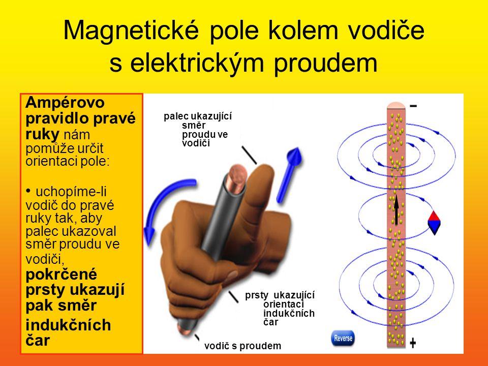 Magnetické pole kolem vodiče s elektrickým proudem palec ukazující směr proudu ve vodiči Ampérovo pravidlo pravé ruky nám pomůže určit orientaci pole:
