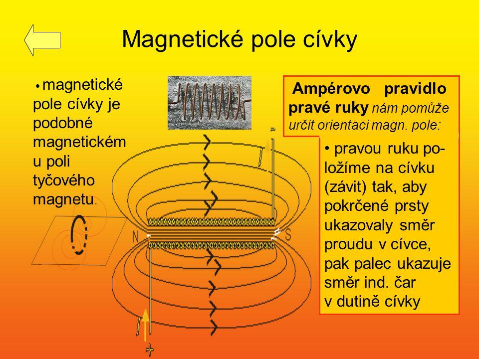 Magnetické pole cívky magnetické pole cívky je podobné magnetickém u poli tyčového magnetu. pravou ruku po- ložíme na cívku (závit) tak, aby pokrčené