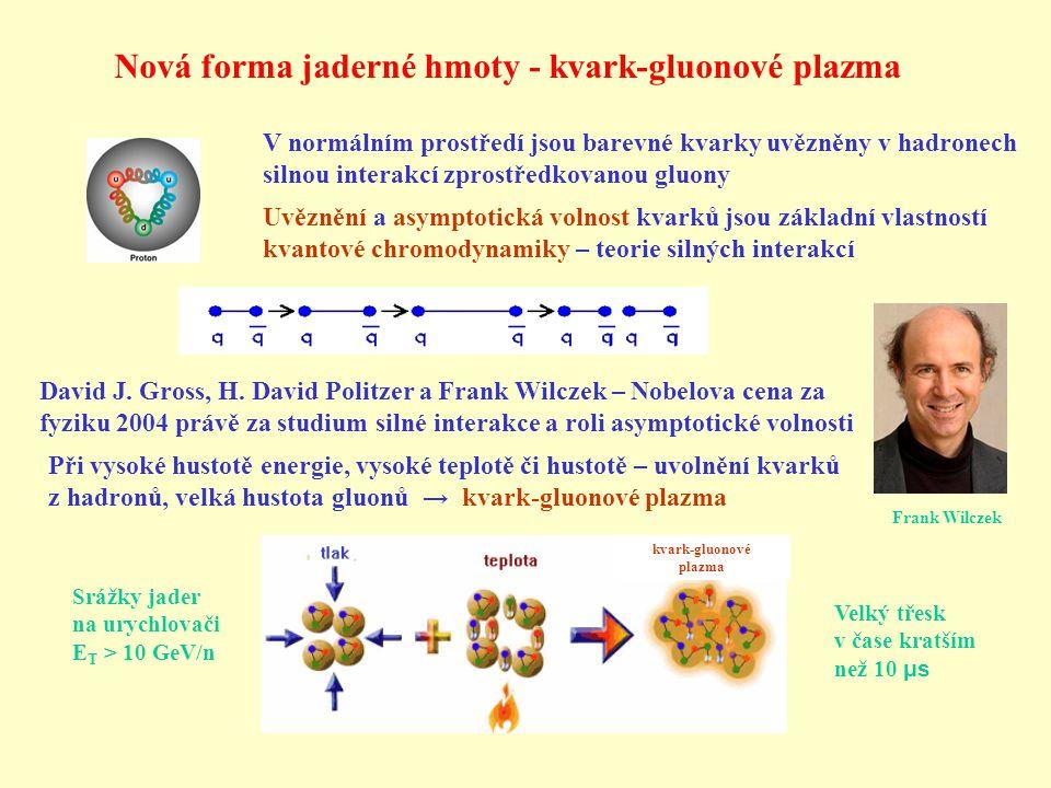 Nová forma jaderné hmoty - kvark-gluonové plazma V normálním prostředí jsou barevné kvarky uvězněny v hadronech silnou interakcí zprostředkovanou gluony Uvěznění a asymptotická volnost kvarků jsou základní vlastností kvantové chromodynamiky – teorie silných interakcí David J.