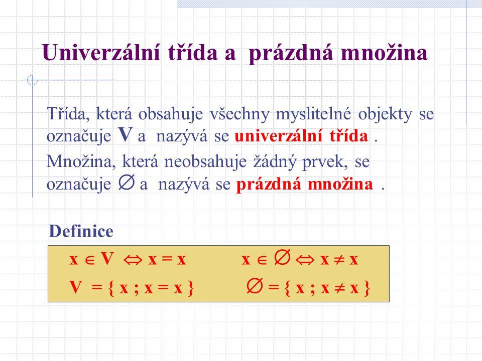 Univerzální třída a prázdná množina Definice x  V  x = x x    x  x V = { x ; x = x }  = { x ; x  x } Třída, která obsahuje všechny myslitelné