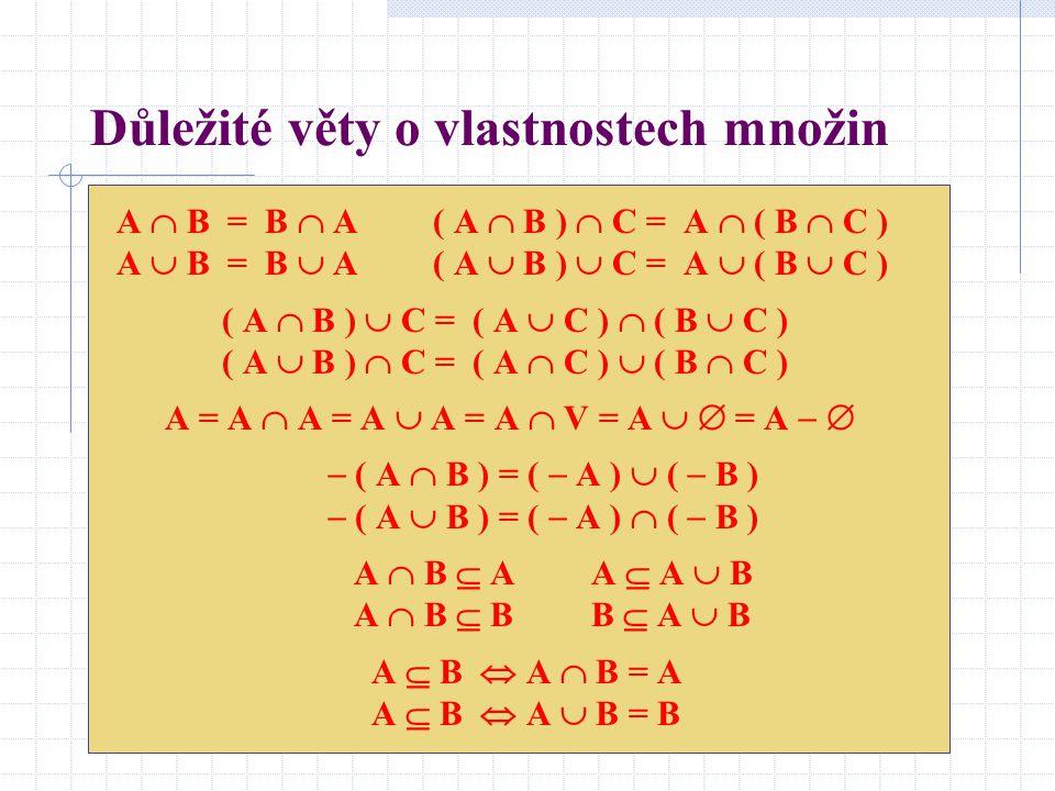 Důležité věty o vlastnostech množin A  B = B  A ( A  B )  C = A  ( B  C ) A  B = B  A ( A  B )  C = A  ( B  C ) ( A  B )  C = ( A  C )
