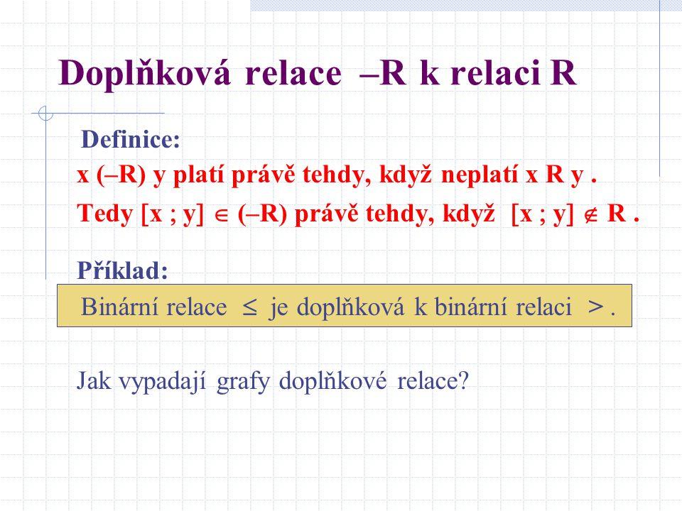 Doplňková relace –R k relaci R Definice: x (–R) y platí právě tehdy, když neplatí x R y. Tedy  x  y   (–R) právě tehdy, když  x  y   R. Příkla