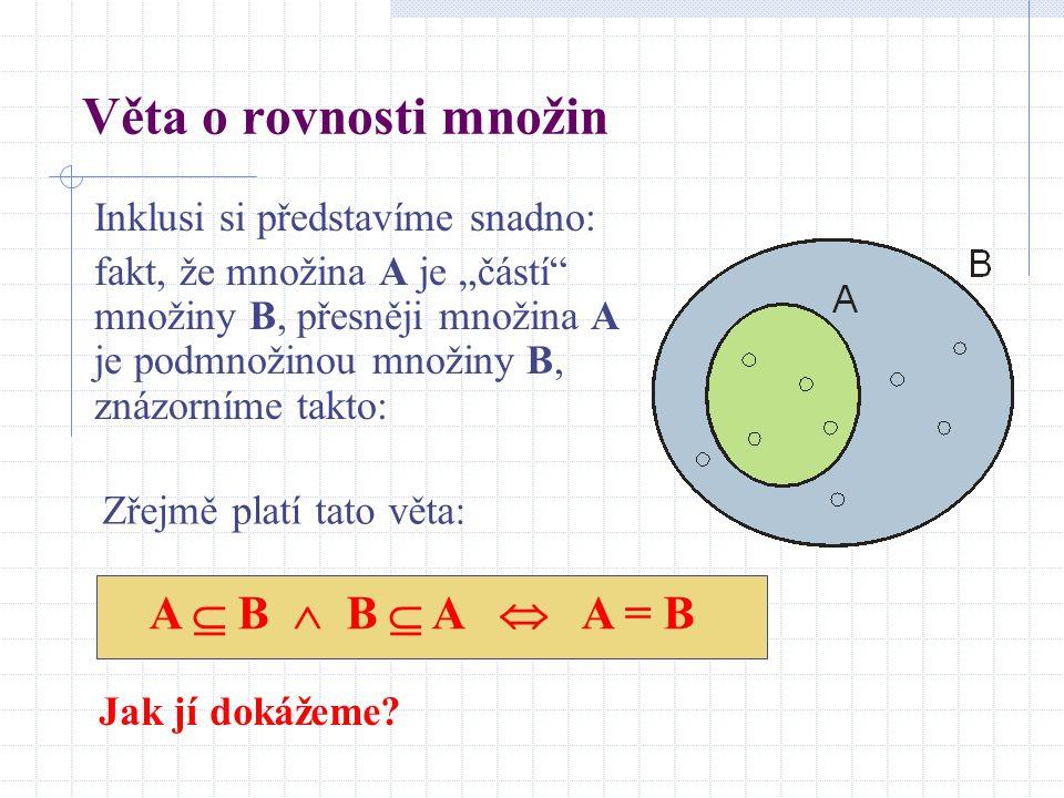 """Věta o rovnosti množin Inklusi si představíme snadno: fakt, že množina A je """"částí"""" množiny B, přesněji množina A je podmnožinou množiny B, znázorníme"""